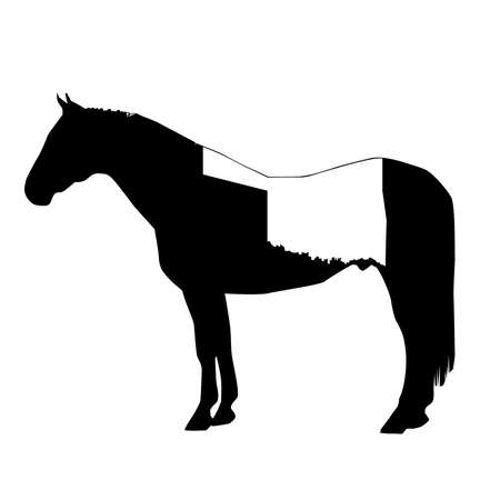 Vector Horse Silhouette with Oklahoma Patch Illustration