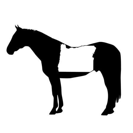 Vector Horse Silhouette with Oregon Patch Illustration Ilustração