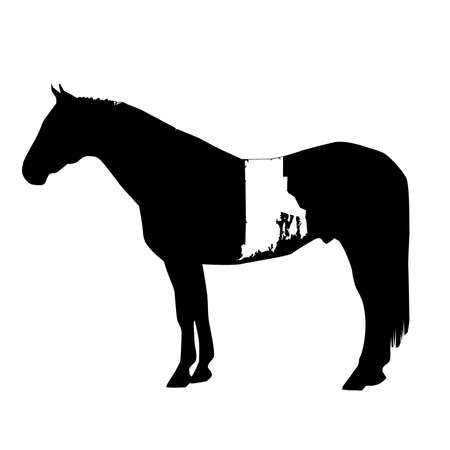 Vector Horse Silhouette with Rhode Island Patch Illustration