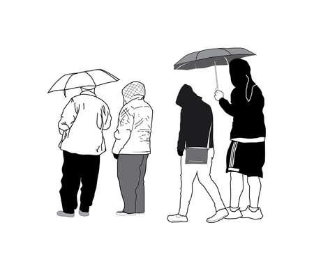 Sketch Group of People with Umbrellas Ilustração