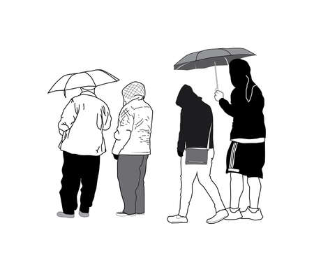 Sketch Group of People with Umbrellas Illustration
