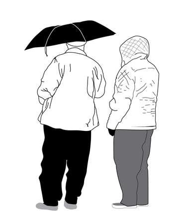 Vector Sketch - Mature Couple with Umbrella Illustration