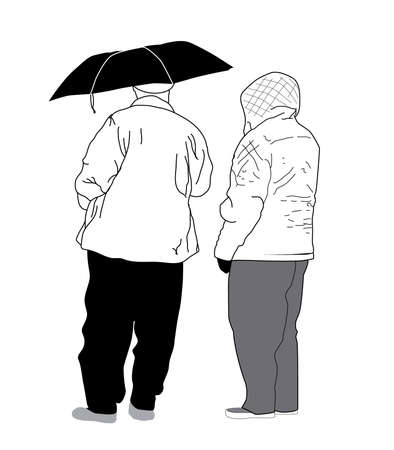 Vector Sketch - Mature Couple with Umbrella Illusztráció