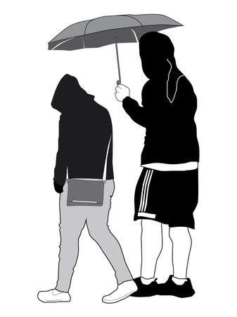 Vector Sketch - Young Couple with Umbrella