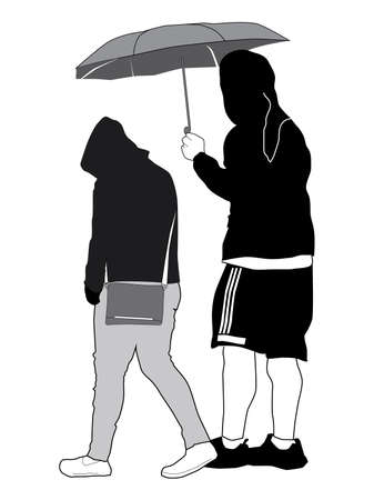 Vector Sketch - Young Couple with Umbrella