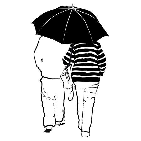 Sketch of a middle aged couple walking with umbrella in rear view