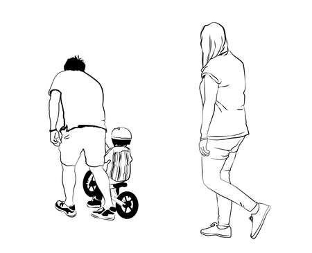 Vector Sketch - Mum & Dad With Toddler on Balance Bike
