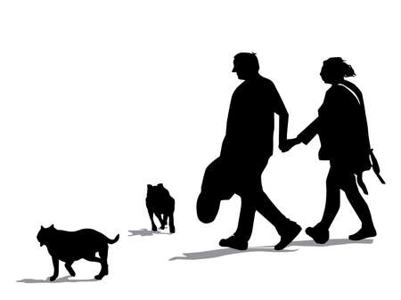 Dog Walking pair of dogs Silhouette