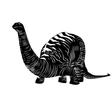Vector - Apatosaurus Line Drawing Sketch Black Illustration