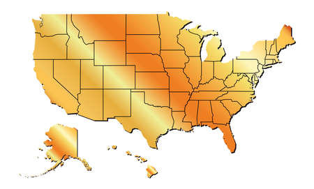 Vector - United States of America Gold Tone map including State Boundaries With Shadow Illustration