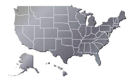Vector - United States of America Aluminium Tone map including State Boundaries With Shadow Ilustração