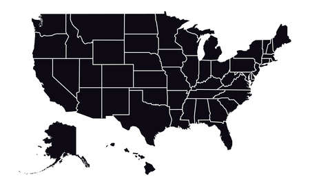 Vector - United States of America Black Silhouette map including State Boundaries