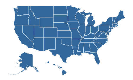 United States of America Blue map including State Boundaries Illustration
