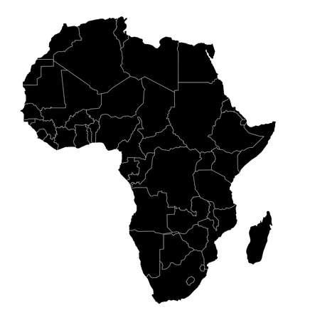 Africa regional continent map. Illustration