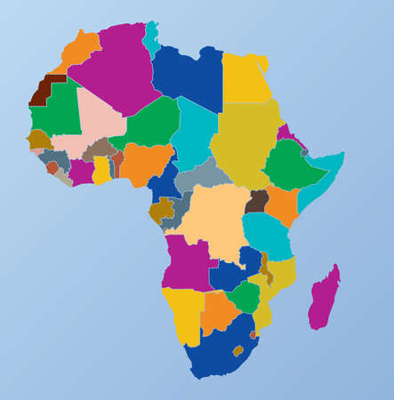 Africa regional continent map. Illustration