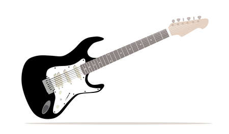 A traditional solid body black electric guitar isolated over white background. vector illustration.