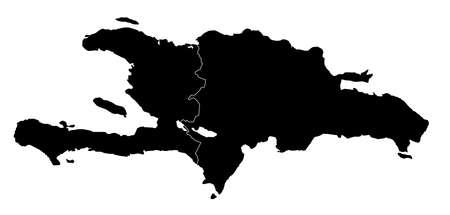ベクトル - イスパニョーラ島ハイチとドミニカ共和国の正確なマップ  イラスト・ベクター素材