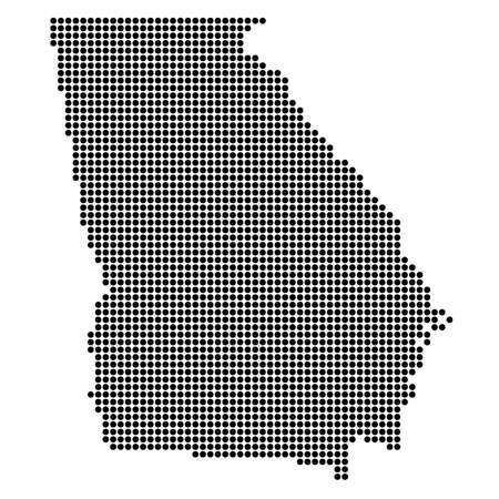 Georgia (USA) State Black Dotted Concept Map Vettoriali