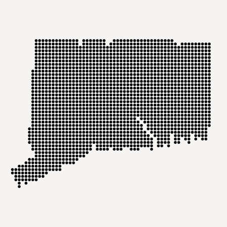 Connecticut (USA) State Black Dotted Concept Map Vettoriali