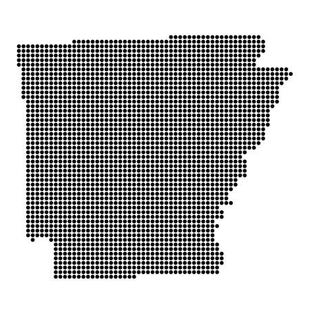 Arkansas (USA) State Black Dotted Concept Map