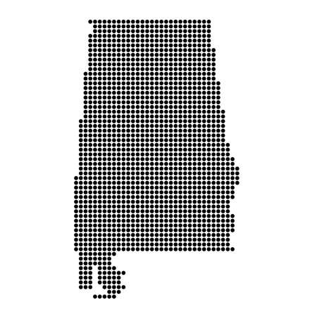 Alabama (USA) Black Dotted Concept Map Vettoriali