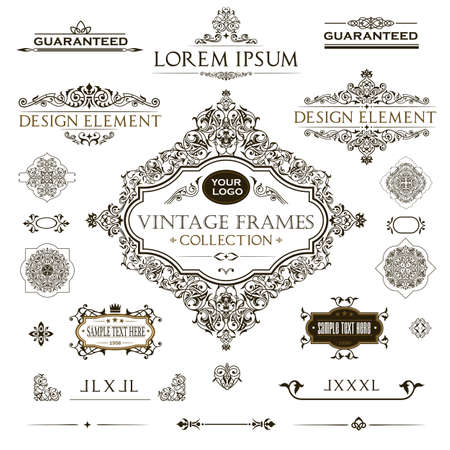 Vector set of vintage frames and design elements: page decoration, Premium Quality antique and baroque frames, vintage Borders, text delimiters, frames with place for text. Vector EPS 10. Ilustracje wektorowe