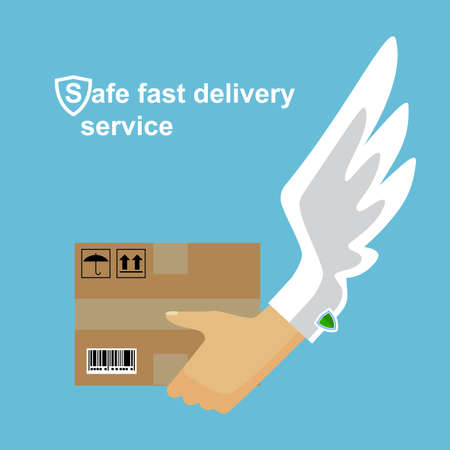 Delivery concept. Hand holding package. Flat style.Safe fast shipping.Delivery service.Express Delivery Icon.Cargo Delivery. Express Delivery Package. Post Service, Order. Symbol of Express Delivery. Иллюстрация
