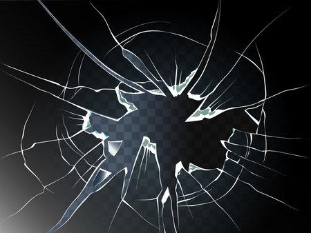 Broken glass. Realistic transparent broken glass background illustration. Shattered glass.