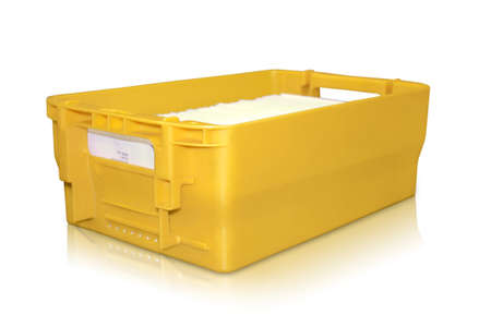 yellow post box with many letters in it