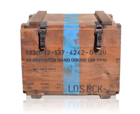Wooden box isolated against white background treasure chest Stock Photo