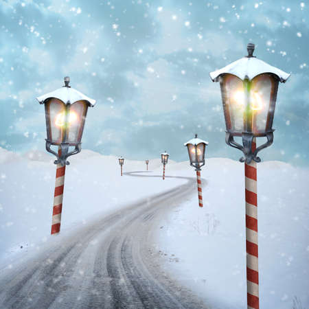 many lanterns on a snow road to north pole Stock Photo