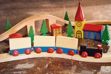 railroad train wagon wood toy vintage rustic