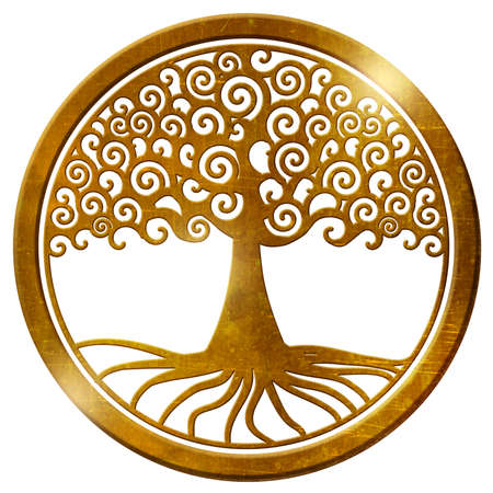 world tree life tree wheel gold medallion pendant
