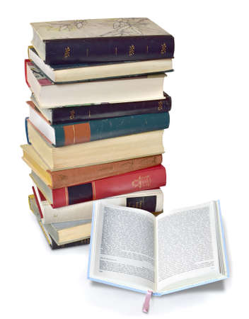 book stack reading old classic school tower Stock Photo