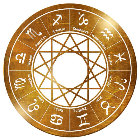 star wheel tarot horoscope stars gold chain pendant