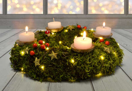 advent christmas wreath burning decorate celebrate tradition tealight Imagens