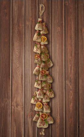 handmade advent calendar bags twentyfour santa clause Stock Photo