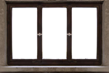 old antique wood window frame white background