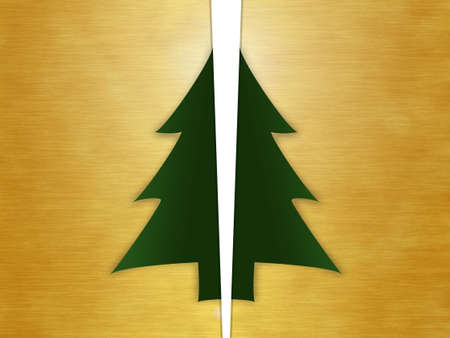 christmas tree card cut out gold bronze gilded golden