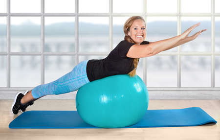 sport retiree pensioner ball exercise age fit Stock Photo