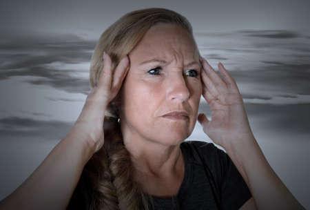 senior headache pain woman head human old lady