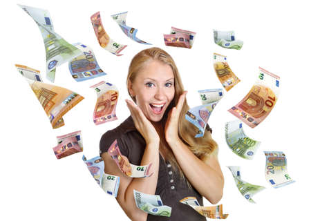 discount woman happy surprise sale money from sky