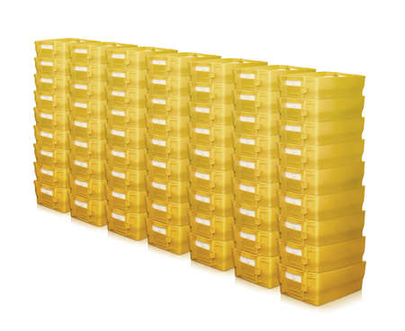 mailboxes many pile row stack postal german yellow container Stock fotó - 112619586