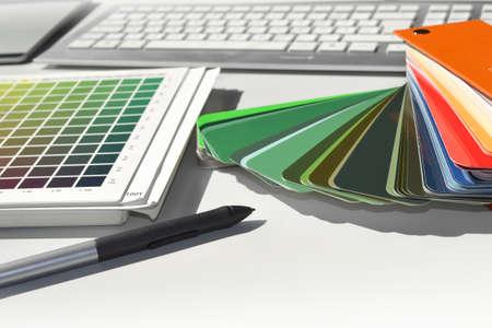 ral color fan cmyk color book pattern Stock Photo