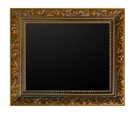 gold vintage picture frame isolated white background Stock Photo