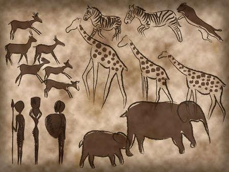 cave paintings africa lion zebra elephant giraffe 스톡 콘텐츠