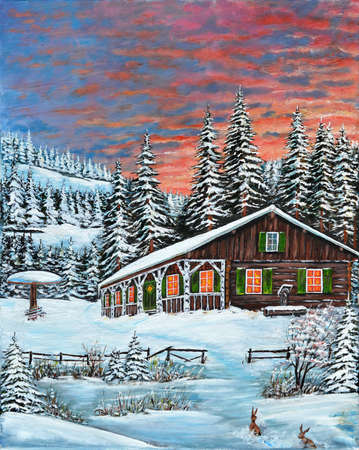 painting art snow cold winter tree architecture built structure