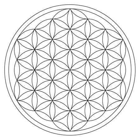 flor de la vida ornamento de oro ciclo de energía Ilustración de vector