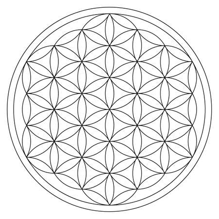 flower of life gold ornament energy cycle Vector Illustratie