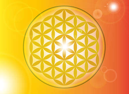 life flower gold isolated free ornament energy